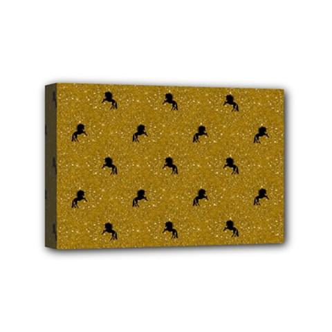 Unicorn Pattern Golden Mini Canvas 6  X 4