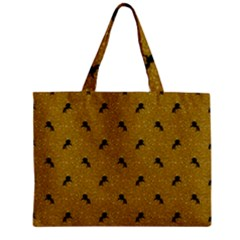 Unicorn Pattern Golden Zipper Mini Tote Bag