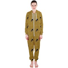 Unicorn Pattern Golden Hooded Jumpsuit (ladies)