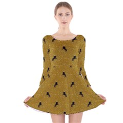 Unicorn Pattern Golden Long Sleeve Velvet Skater Dress