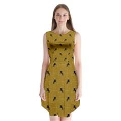 Unicorn Pattern Golden Sleeveless Chiffon Dress