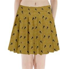 Unicorn Pattern Golden Pleated Mini Skirt