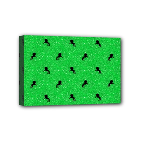 Unicorn Pattern Green Mini Canvas 6  X 4