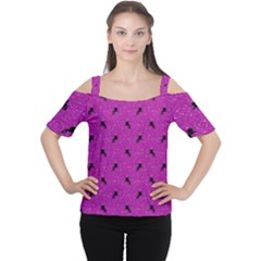 Unicorn Pattern Pink Cutout Shoulder Tee