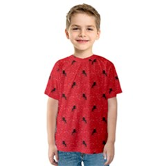 Unicorn Pattern Red Kids  Sport Mesh Tee
