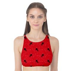Unicorn Pattern Red Tank Bikini Top