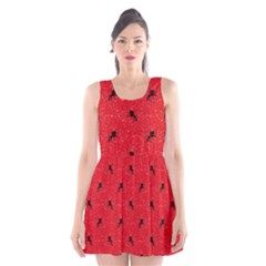 Unicorn Pattern Red Scoop Neck Skater Dress