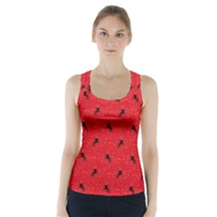 Unicorn Pattern Red Racer Back Sports Top