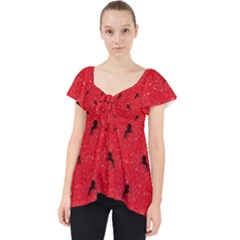 Unicorn Pattern Red Lace Front Dolly Top