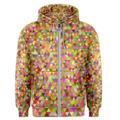 Multicolored Mixcolor Geometric Pattern Men s Zipper Hoodie