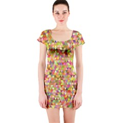 Multicolored Mixcolor Geometric Pattern Short Sleeve Bodycon Dress