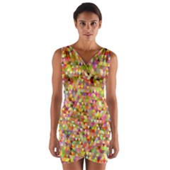 Multicolored Mixcolor Geometric Pattern Wrap Front Bodycon Dress