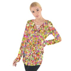 Multicolored Mixcolor Geometric Pattern Tie Up Tee