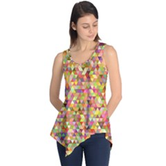 Multicolored Mixcolor Geometric Pattern Sleeveless Tunic
