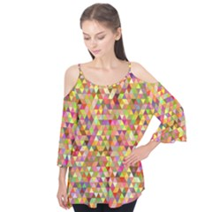 Multicolored Mixcolor Geometric Pattern Flutter Tees