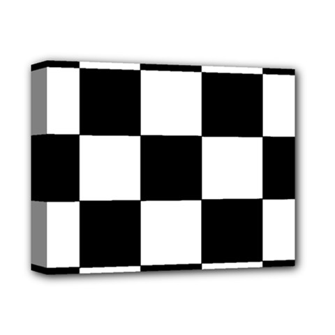 Grid Domino Bank And Black Deluxe Canvas 14  X 11