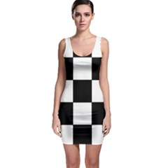 Grid Domino Bank And Black Bodycon Dress