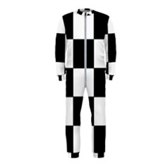 Grid Domino Bank And Black Onepiece Jumpsuit (kids)