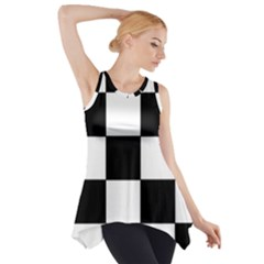 Grid Domino Bank And Black Side Drop Tank Tunic