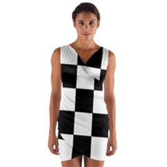 Grid Domino Bank And Black Wrap Front Bodycon Dress