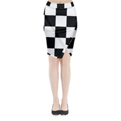Grid Domino Bank And Black Midi Wrap Pencil Skirt