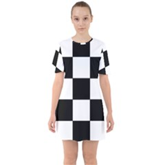 Grid Domino Bank And Black Sixties Short Sleeve Mini Dress