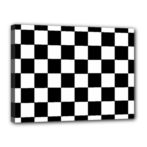 Grid Domino Bank And Black Canvas 16  X 12