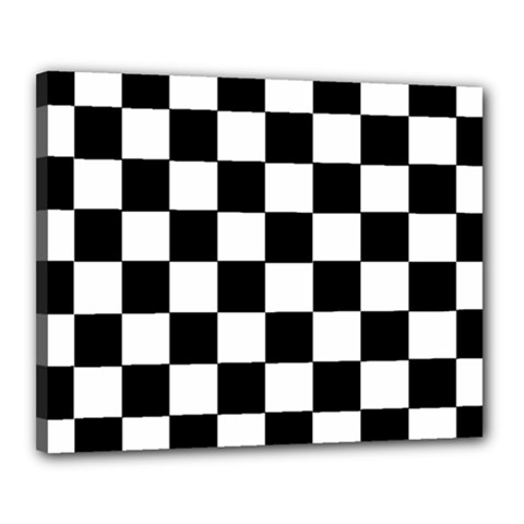 Grid Domino Bank And Black Canvas 20  X 16