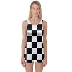 Grid Domino Bank And Black One Piece Boyleg Swimsuit