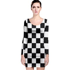 Grid Domino Bank And Black Long Sleeve Bodycon Dress