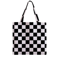 Grid Domino Bank And Black Zipper Grocery Tote Bag