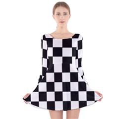 Grid Domino Bank And Black Long Sleeve Velvet Skater Dress