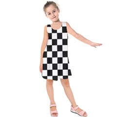 Grid Domino Bank And Black Kids  Sleeveless Dress