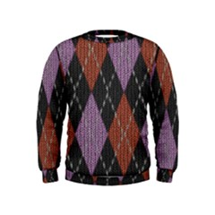 Knit Geometric Plaid Fabric Pattern Kids  Sweatshirt