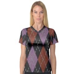 Knit Geometric Plaid Fabric Pattern V Neck Sport Mesh Tee