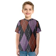 Knit Geometric Plaid Fabric Pattern Kids  Sport Mesh Tee