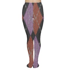 Knit Geometric Plaid Fabric Pattern Women s Tights