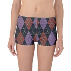 Knit Geometric Plaid Fabric Pattern Boyleg Bikini Bottoms