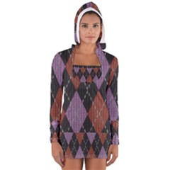 Knit Geometric Plaid Fabric Pattern Long Sleeve Hooded T Shirt
