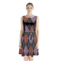 Knit Geometric Plaid Fabric Pattern Sleeveless Waist Tie Chiffon Dress
