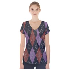Knit Geometric Plaid Fabric Pattern Short Sleeve Front Detail Top