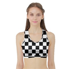 Grid Domino Bank And Black Sports Bra With Border