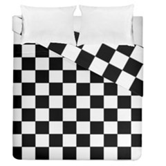 Grid Domino Bank And Black Duvet Cover Double Side (queen Size)