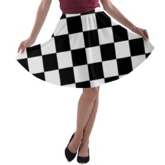 Grid Domino Bank And Black A Line Skater Skirt