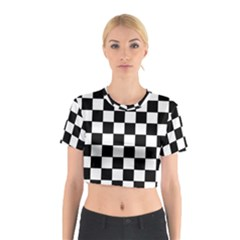 Grid Domino Bank And Black Cotton Crop Top