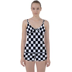 Grid Domino Bank And Black Tie Front Two Piece Tankini