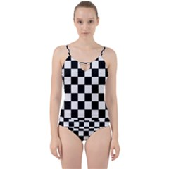 Grid Domino Bank And Black Cut Out Top Tankini Set