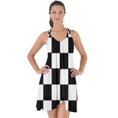 Grid Domino Bank And Black Show Some Back Chiffon Dress