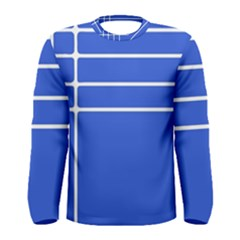 Stripes Pattern Template Texture Blue Men s Long Sleeve Tee