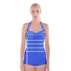 Stripes Pattern Template Texture Blue Boyleg Halter Swimsuit